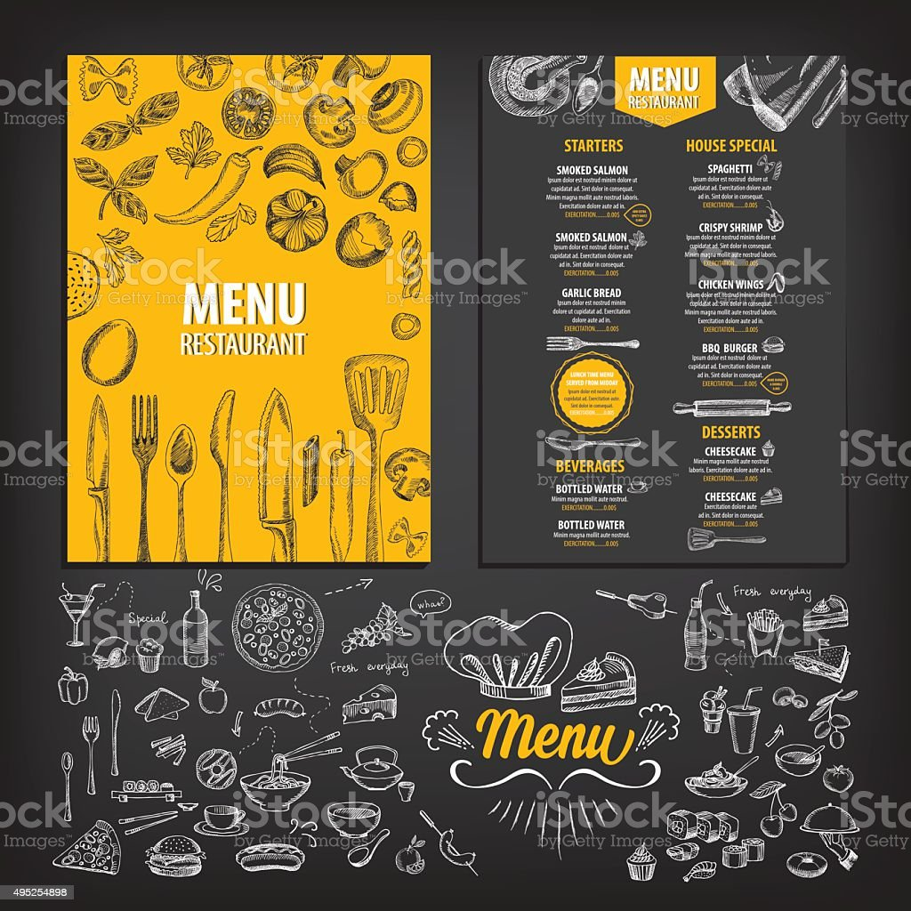 Restaurant food menu. vector art illustration