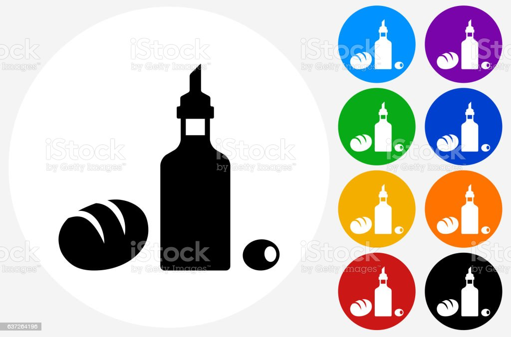 Restaurant Foods Icon on Flat Color Circle Buttons vector art illustration
