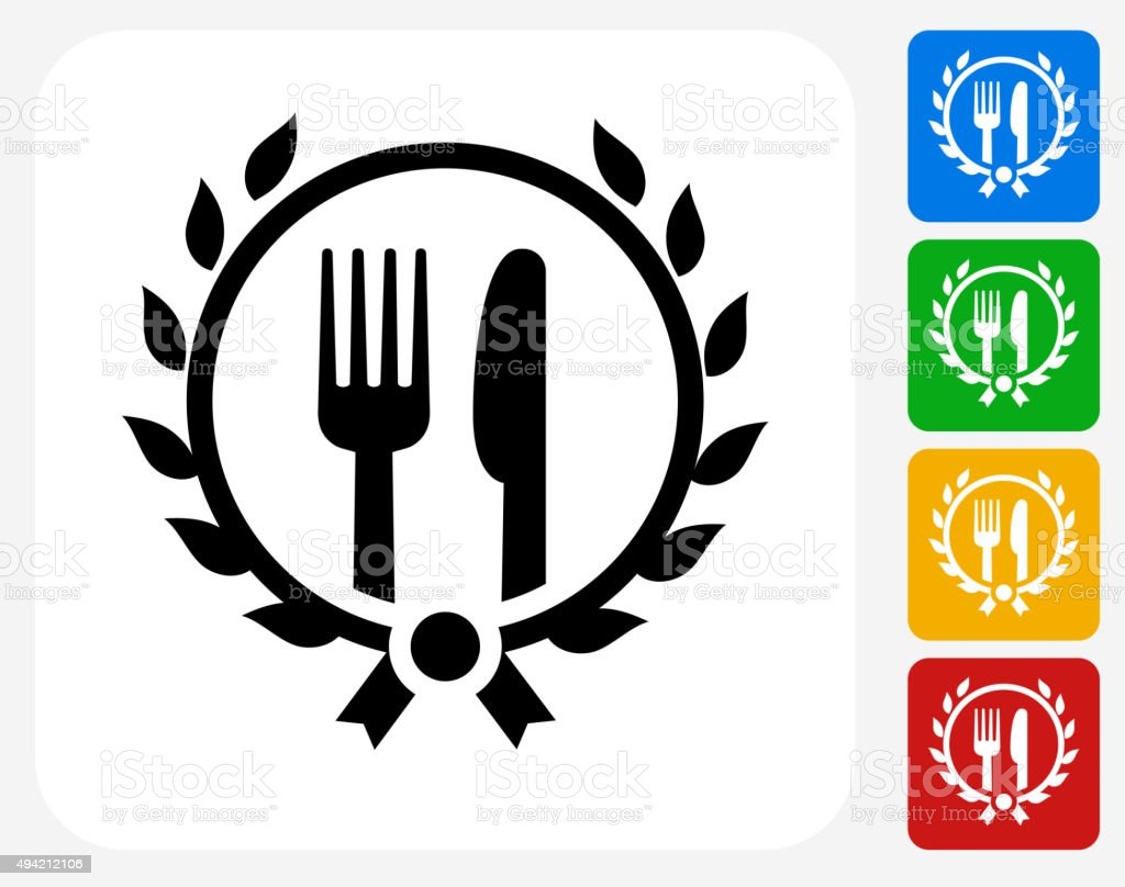 Restaurant Fork and Knife Icon Flat Graphic Design vector art illustration