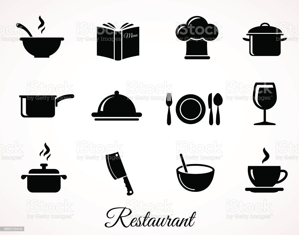 Restaurant icon collection isolated on white ba vector art illustration
