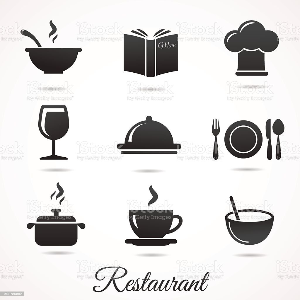 Restaurant icon collection isolated on white backround. vector art illustration