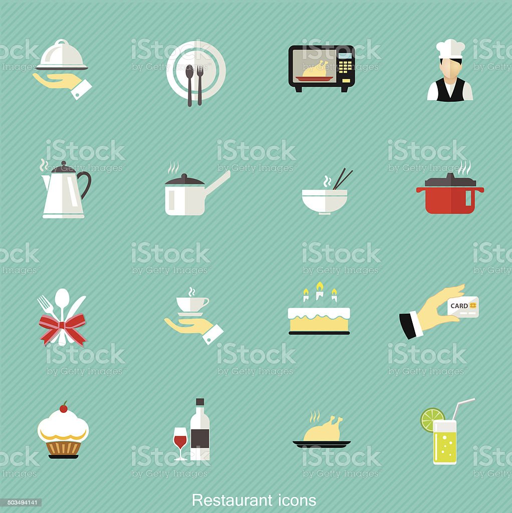 Restaurant icon in flat style on Blue Background vector art illustration