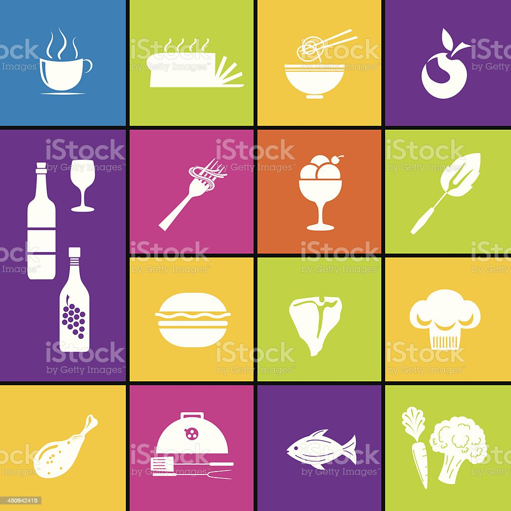 Restaurant Icon Set In Bold Colors royalty-free stock vector art