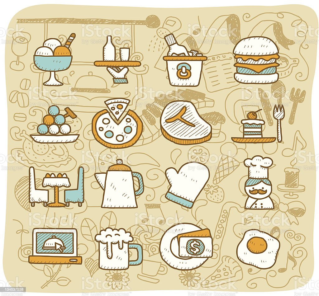 Restaurant icon set | Mocha Series royalty-free stock vector art