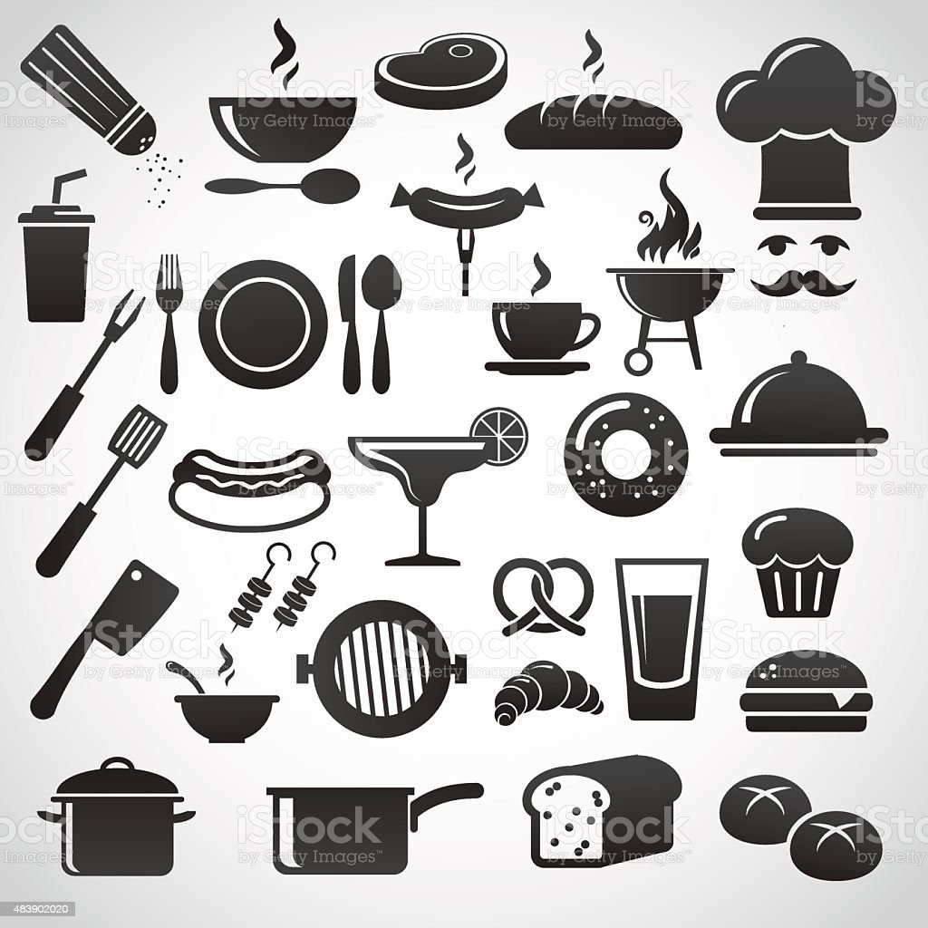 Restaurant icon set. vector art illustration