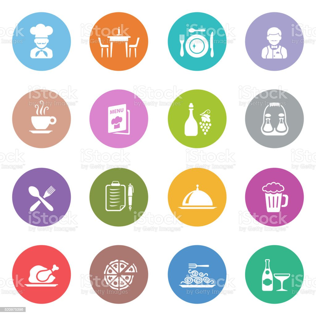 Restaurant Icon Set vector art illustration