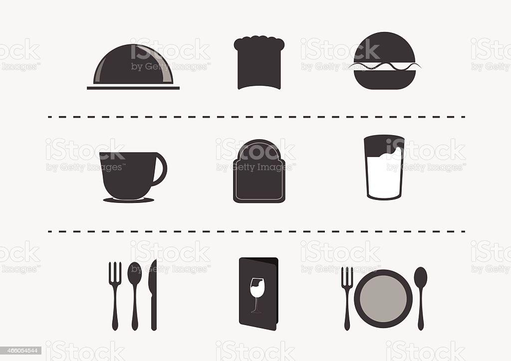 restaurant icon set. vector illustration. vector art illustration