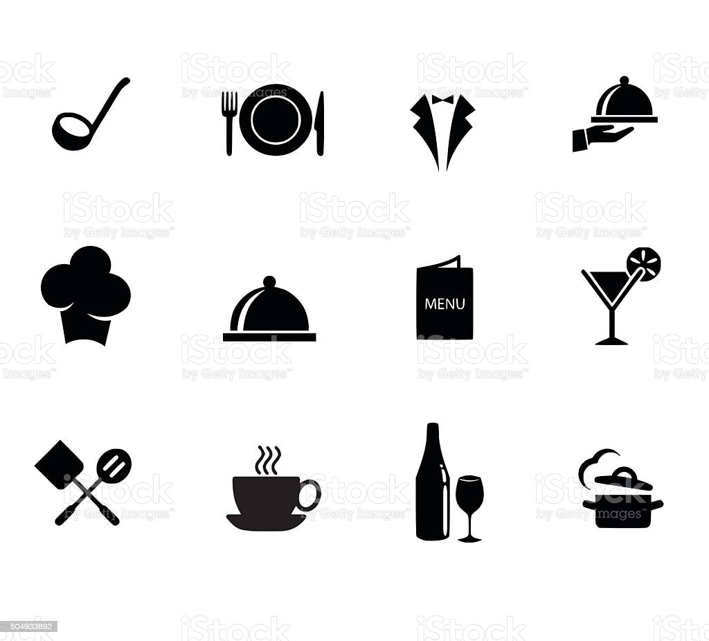 Restaurant icon set vector illustration vector art illustration