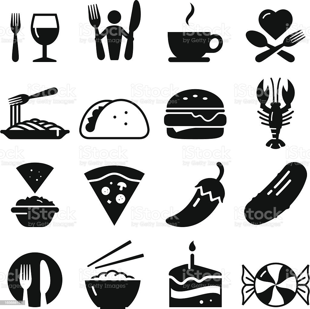 Restaurant Icons - Black Series vector art illustration