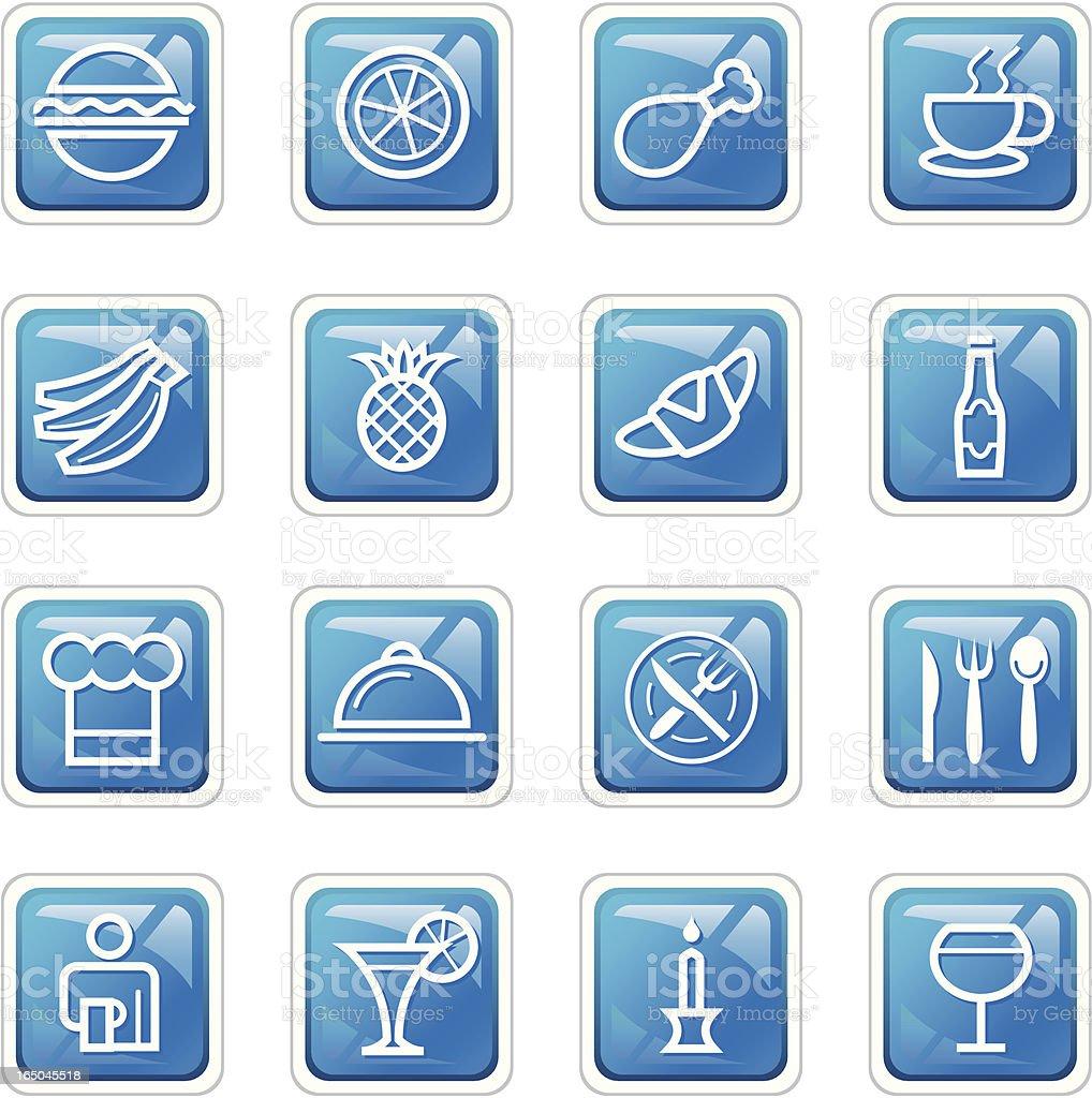 Restaurant Icons - Dark Blue royalty-free stock vector art