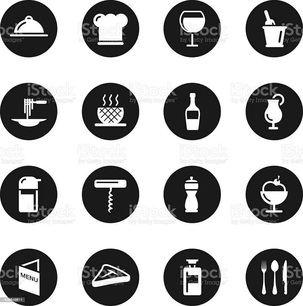 Restaurant Icons Set 1 - Black Circle Series vector art illustration