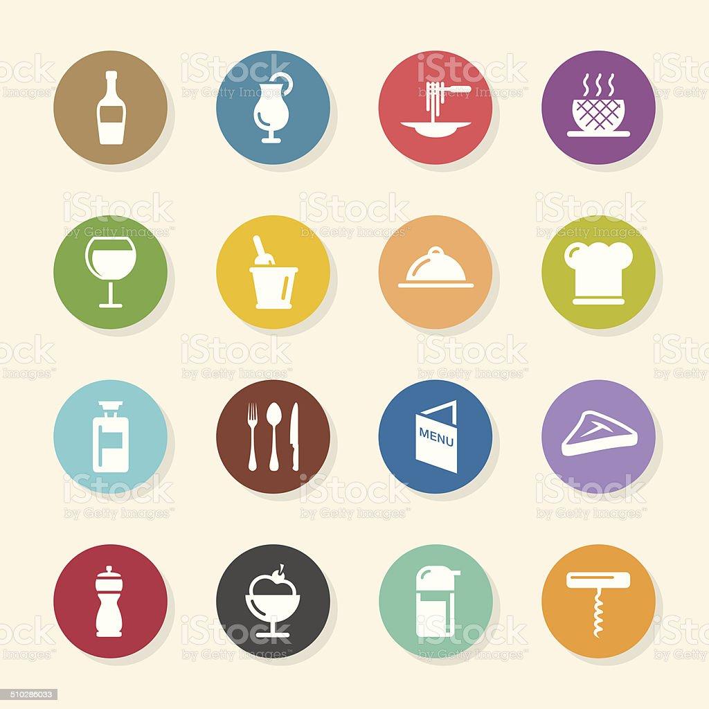 Restaurant Icons Set 1 - Color Circle Series vector art illustration