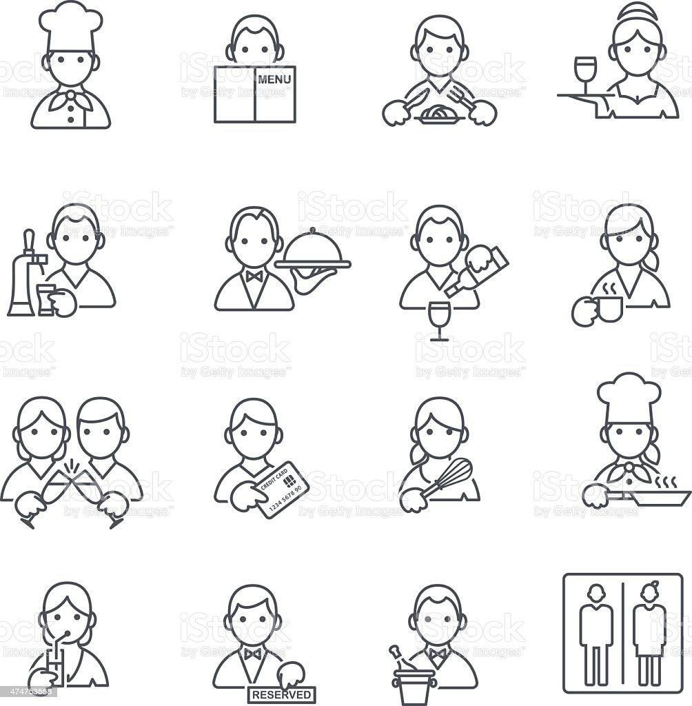Restaurant icons thin line. vector art illustration