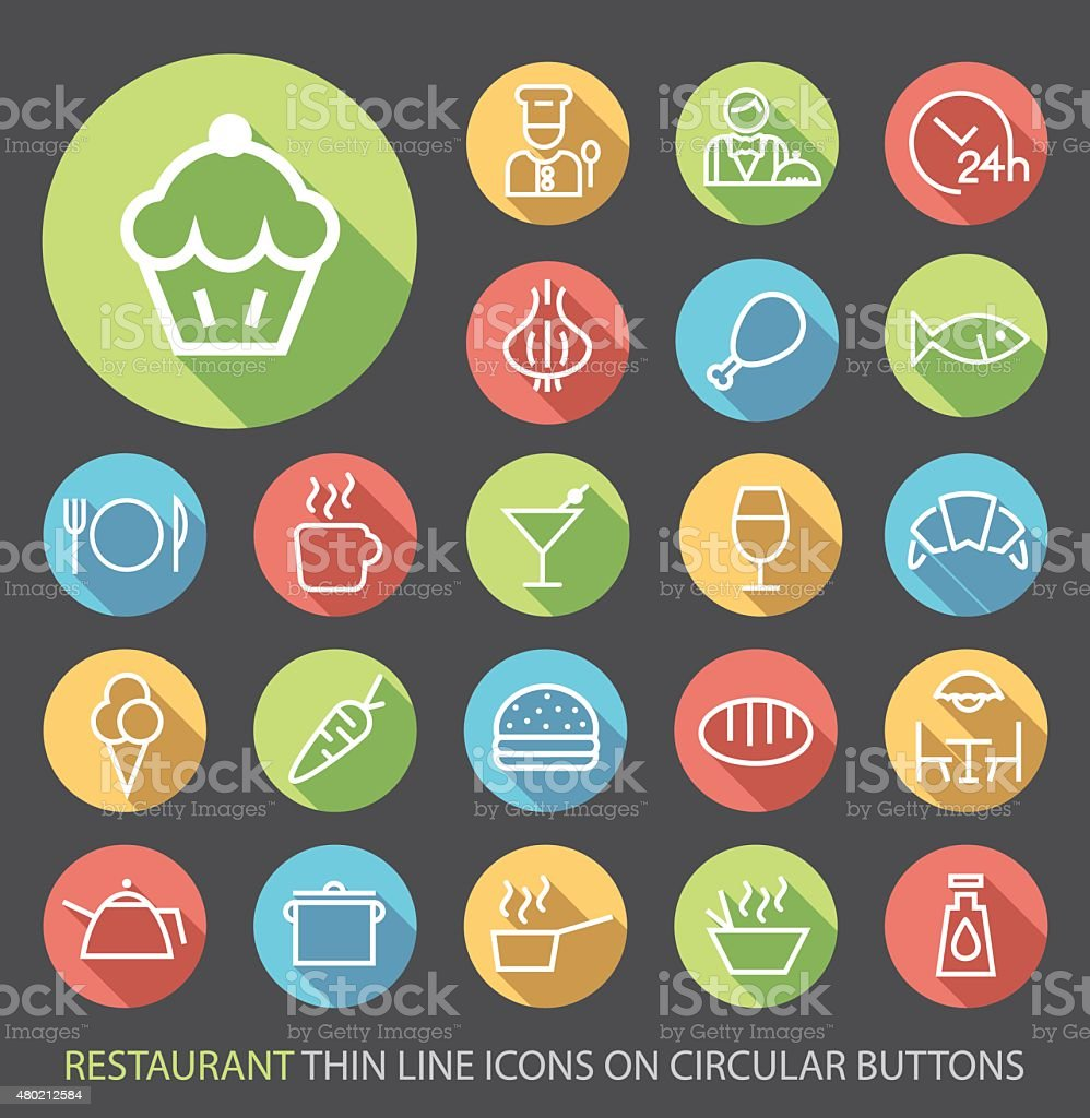 Restaurant Icons with Buttons on Black Background. vector art illustration