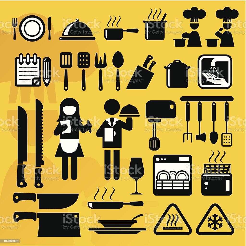 Restaurant icons with utensils vector art illustration