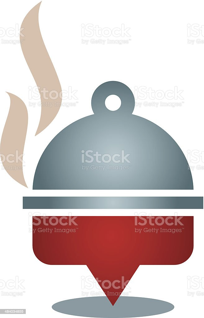 Restaurant kitchen locator map positioning logo icon in city royalty-free stock vector art