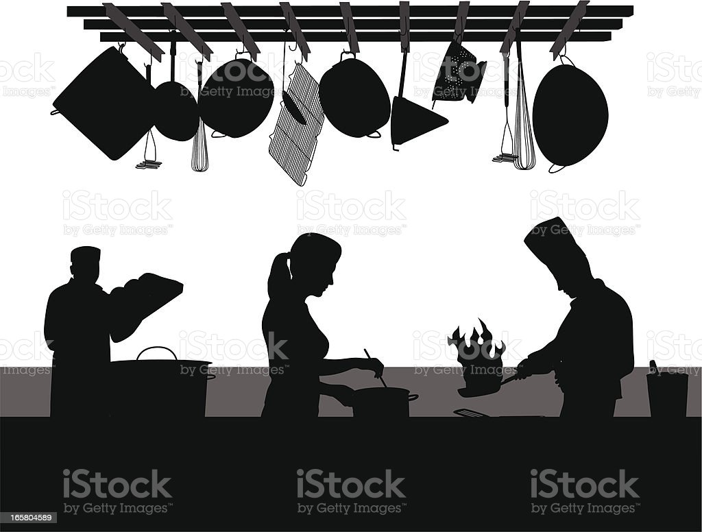 Restaurant Kitchen Vector Silhouette royalty-free stock vector art