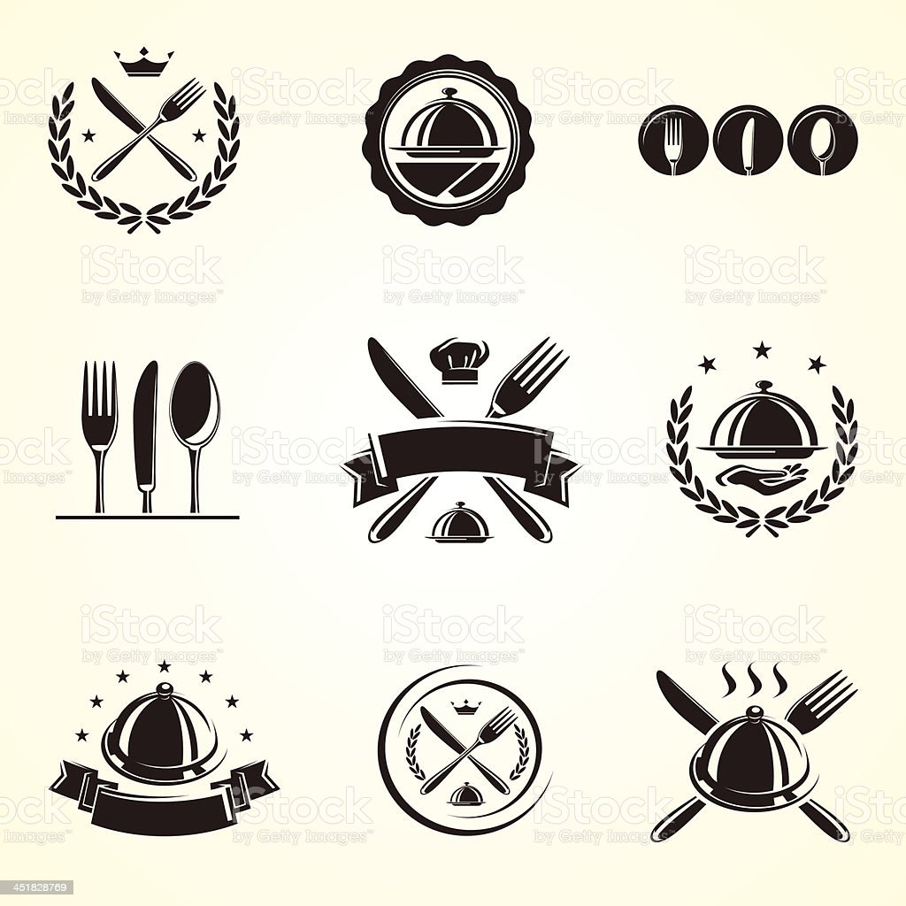Restaurant labels set. Vector vector art illustration