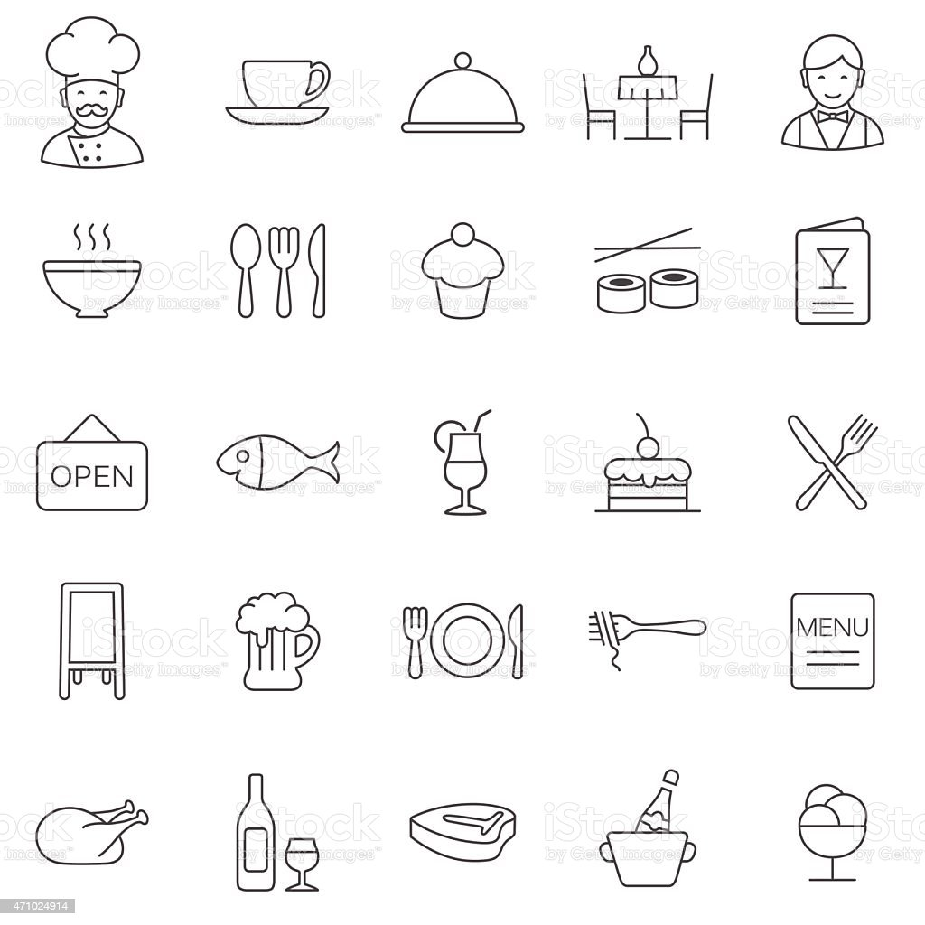 Restaurant line icons set.Vector vector art illustration