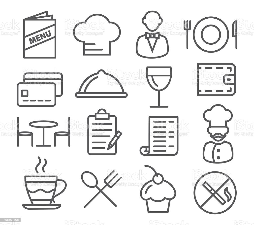 Restaurant Line Icons vector art illustration