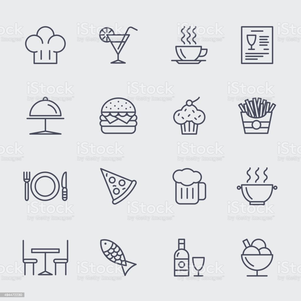 Restaurant line icons vector set vector art illustration