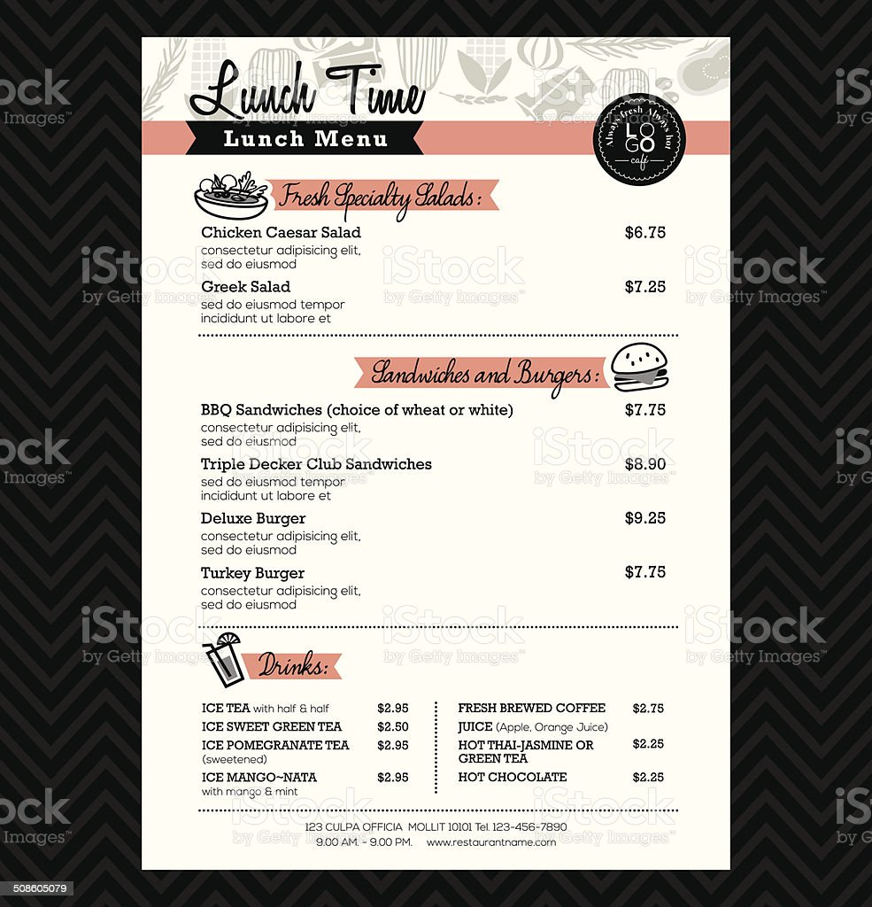 Restaurant Lunch menu design Template layout vector art illustration