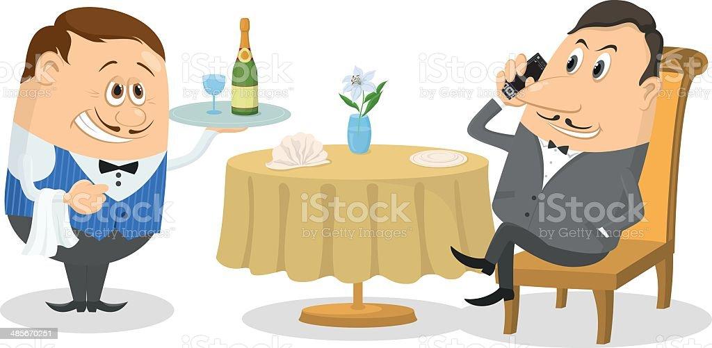 Restaurant, man near table isolated royalty-free stock vector art