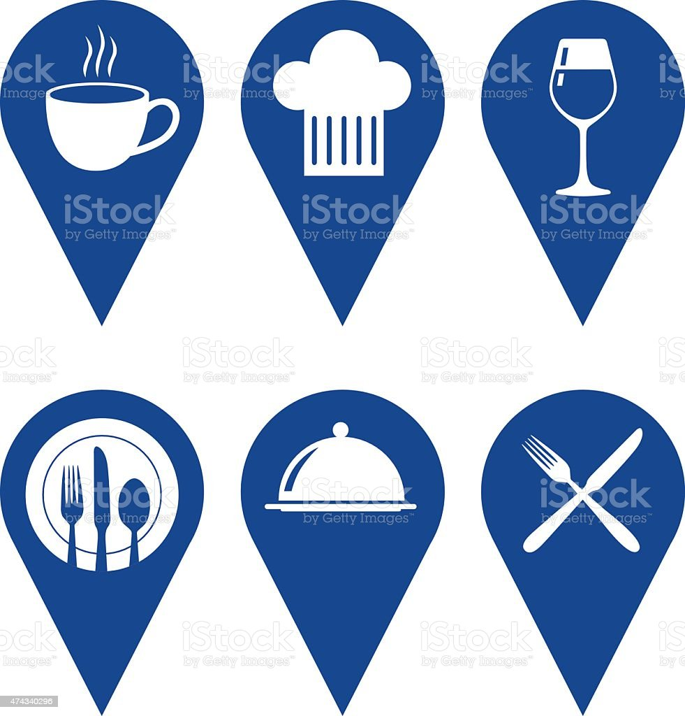 Restaurant Map Pointers vector art illustration