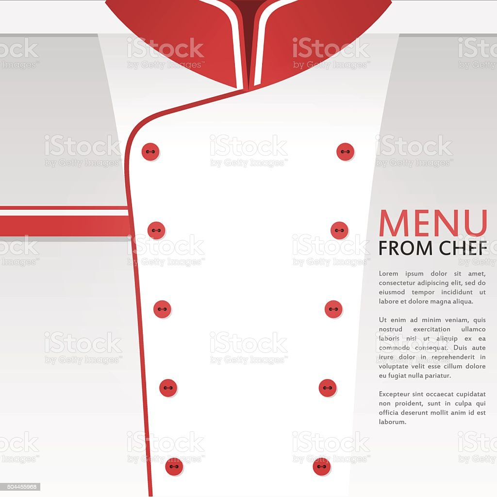 Restaurant menu background with chef uniform vector art illustration
