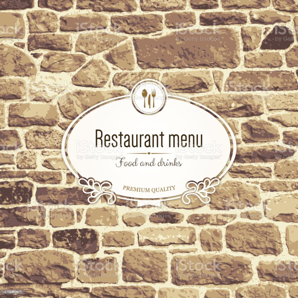 a restaurant menu design on a brick wall stock vector art