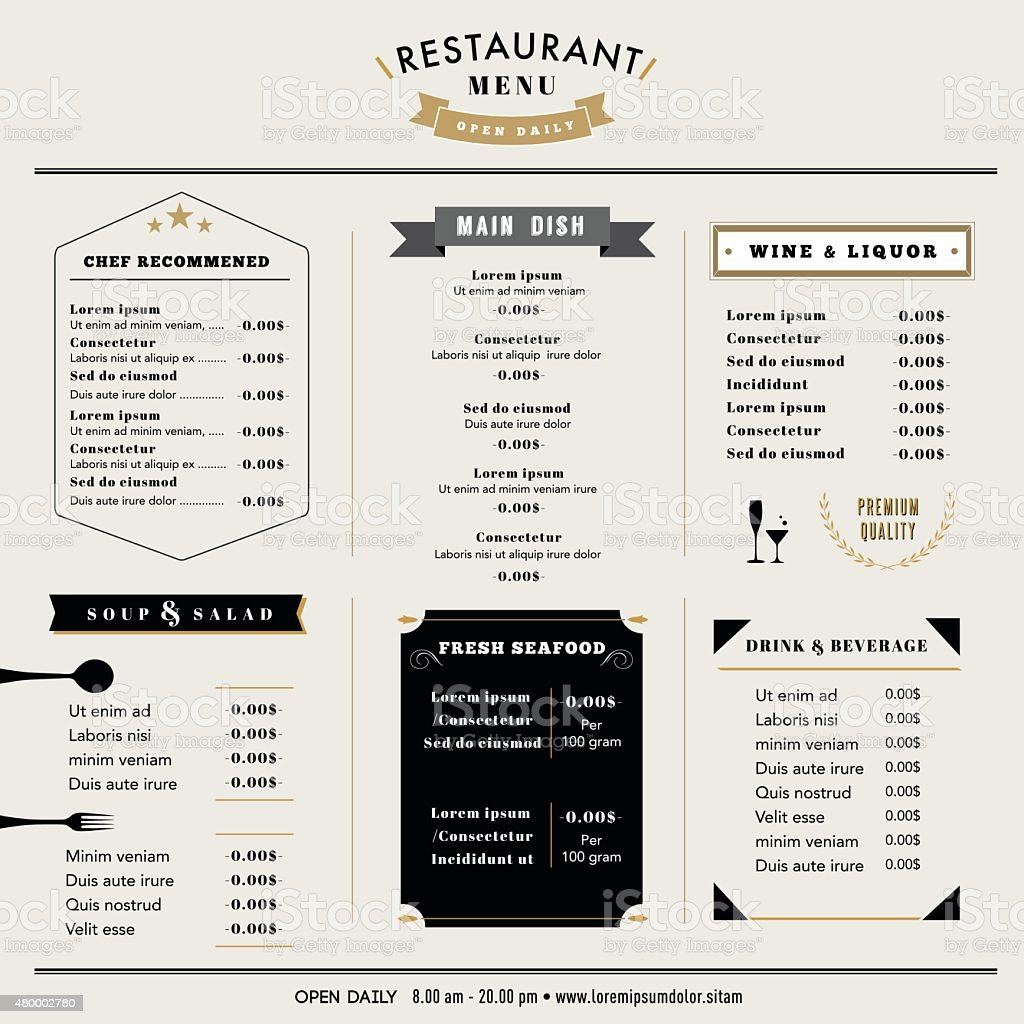 Restaurant menu design template layout vintage style stock