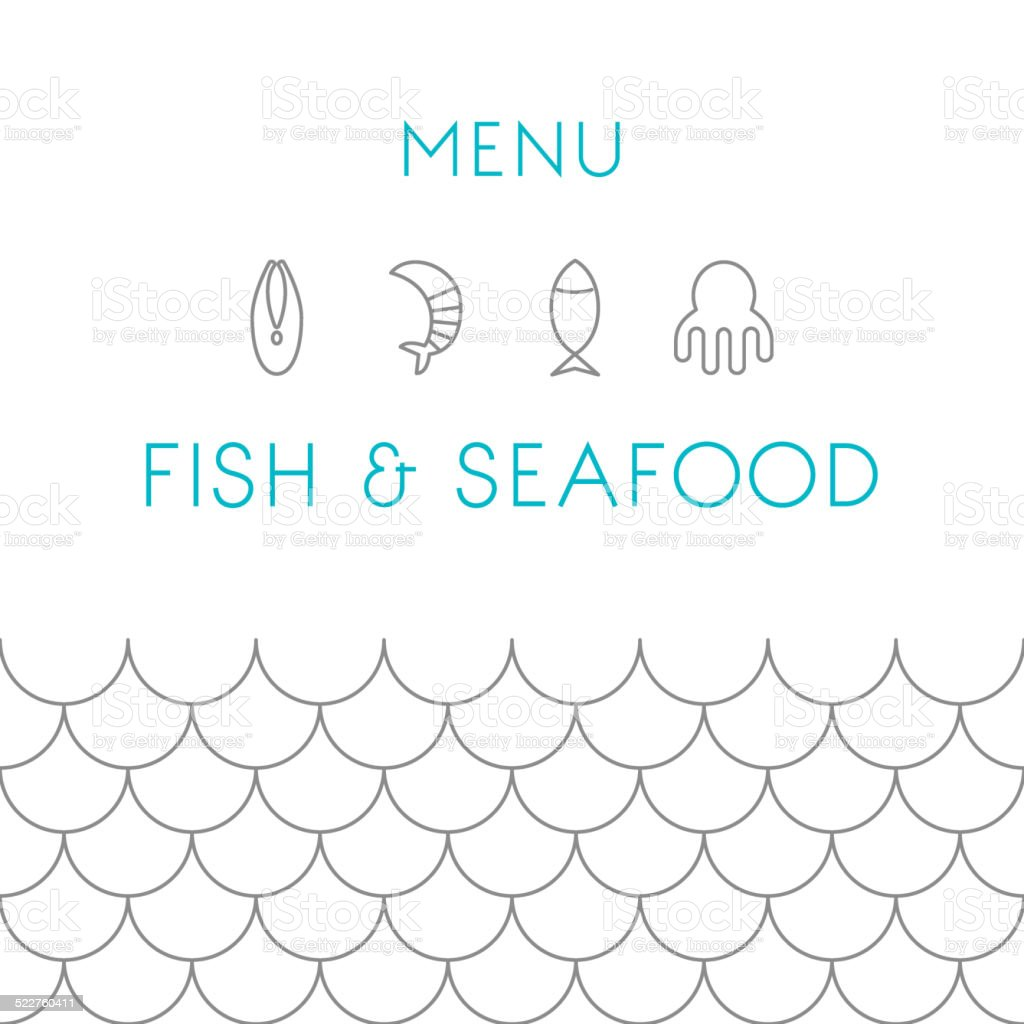 Restaurant menu design template. Seafood. Vector  illustration. vector art illustration