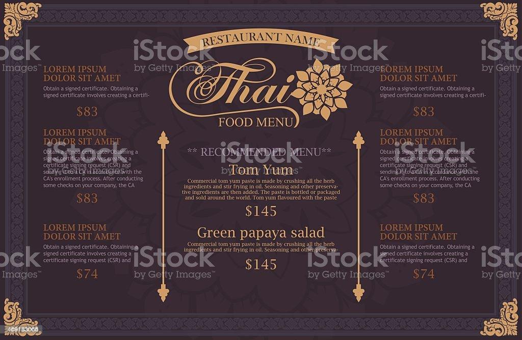 restaurant menu design. thai art vector art illustration