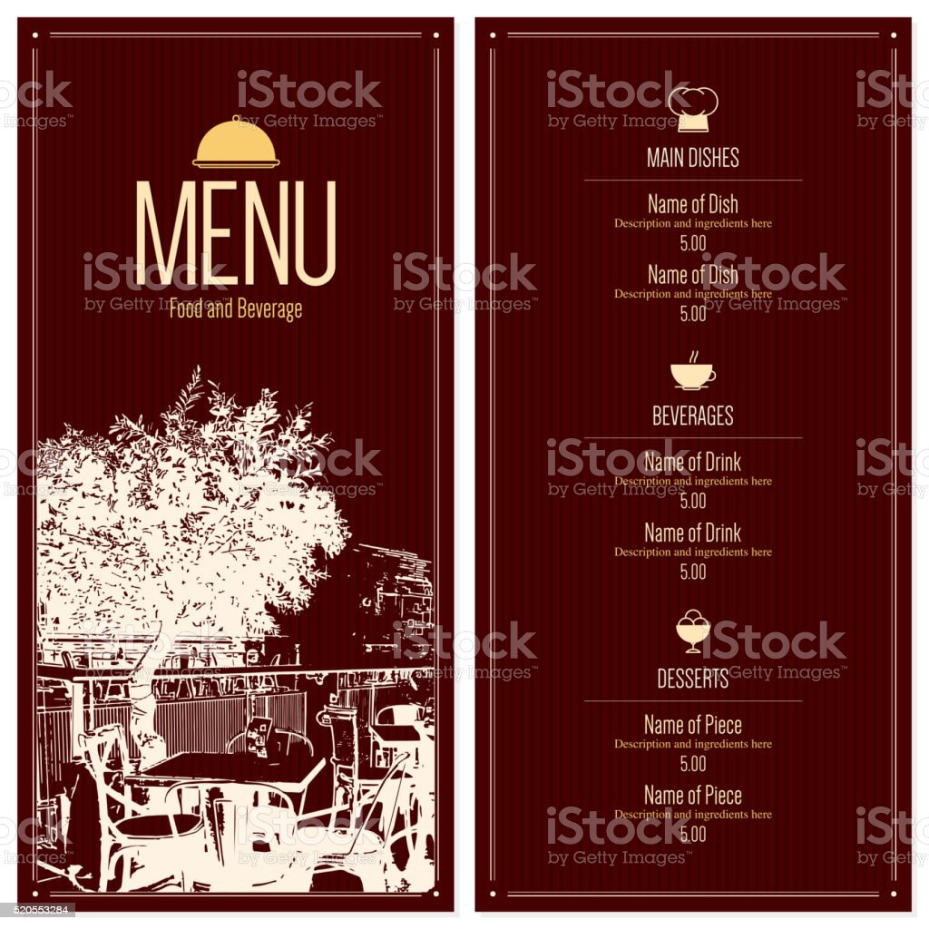 Restaurant menu design vector art illustration