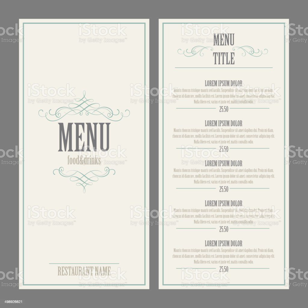 Restaurant Menu Design. Vector Illustration vector art illustration