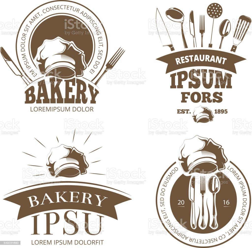Restaurant menu design, vector labels, emblems, badges, logos vector art illustration