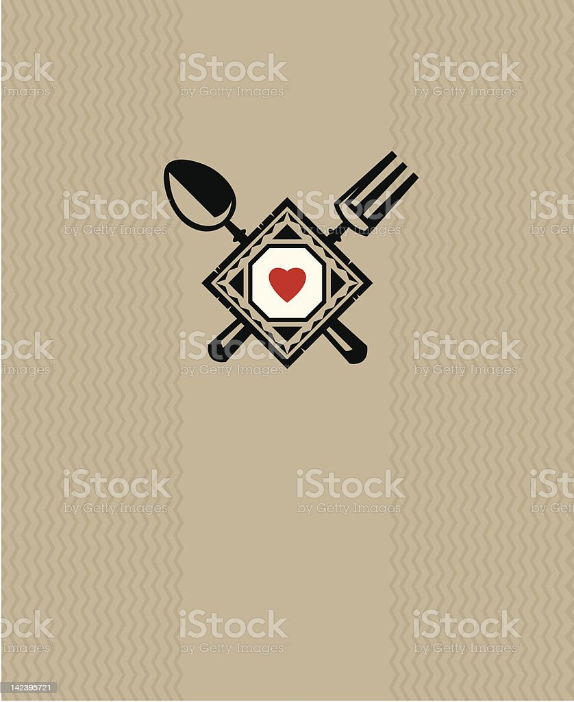 A restaurant menu design with a red heart and cutlery royalty-free stock vector art