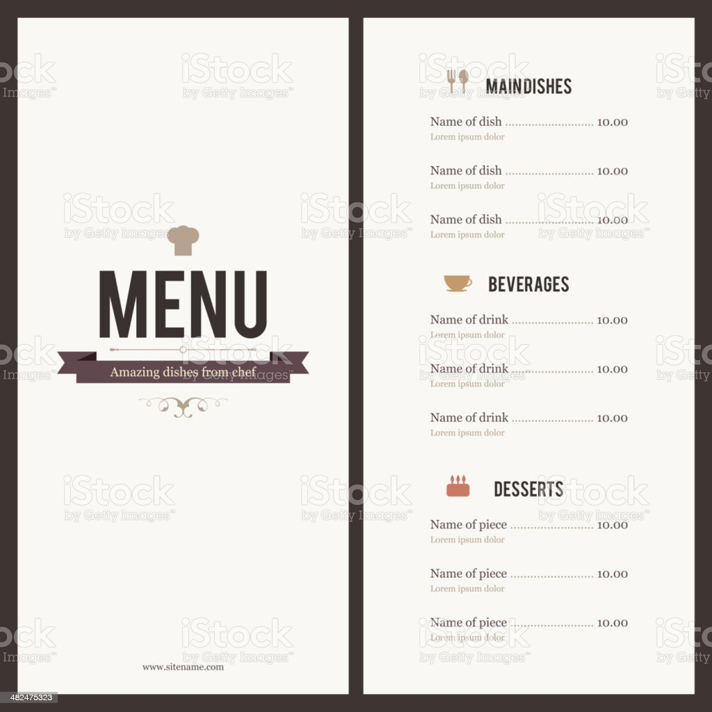 Restaurant menu. Flat design vector art illustration