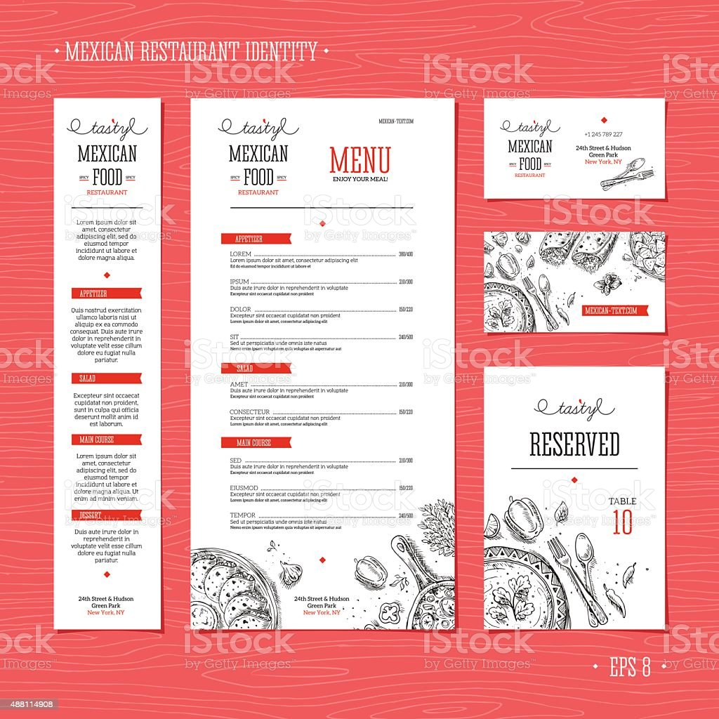 Restaurant menu template. Cafe identity. Vector illustration vector art illustration