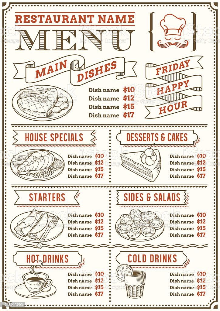 Restaurant Menu Template vector art illustration
