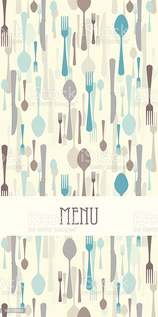 Restaurant menu with cutlery vector art illustration
