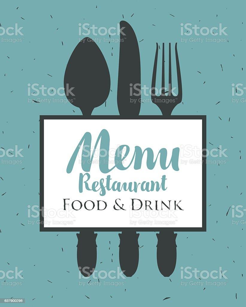 restaurant menu with cutlery vector art illustration