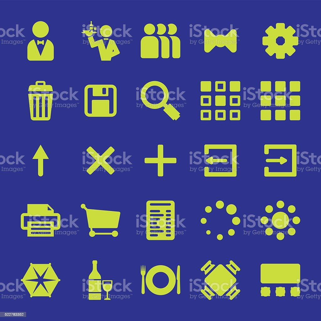 Restaurant mobile app vector icon design set vector art illustration