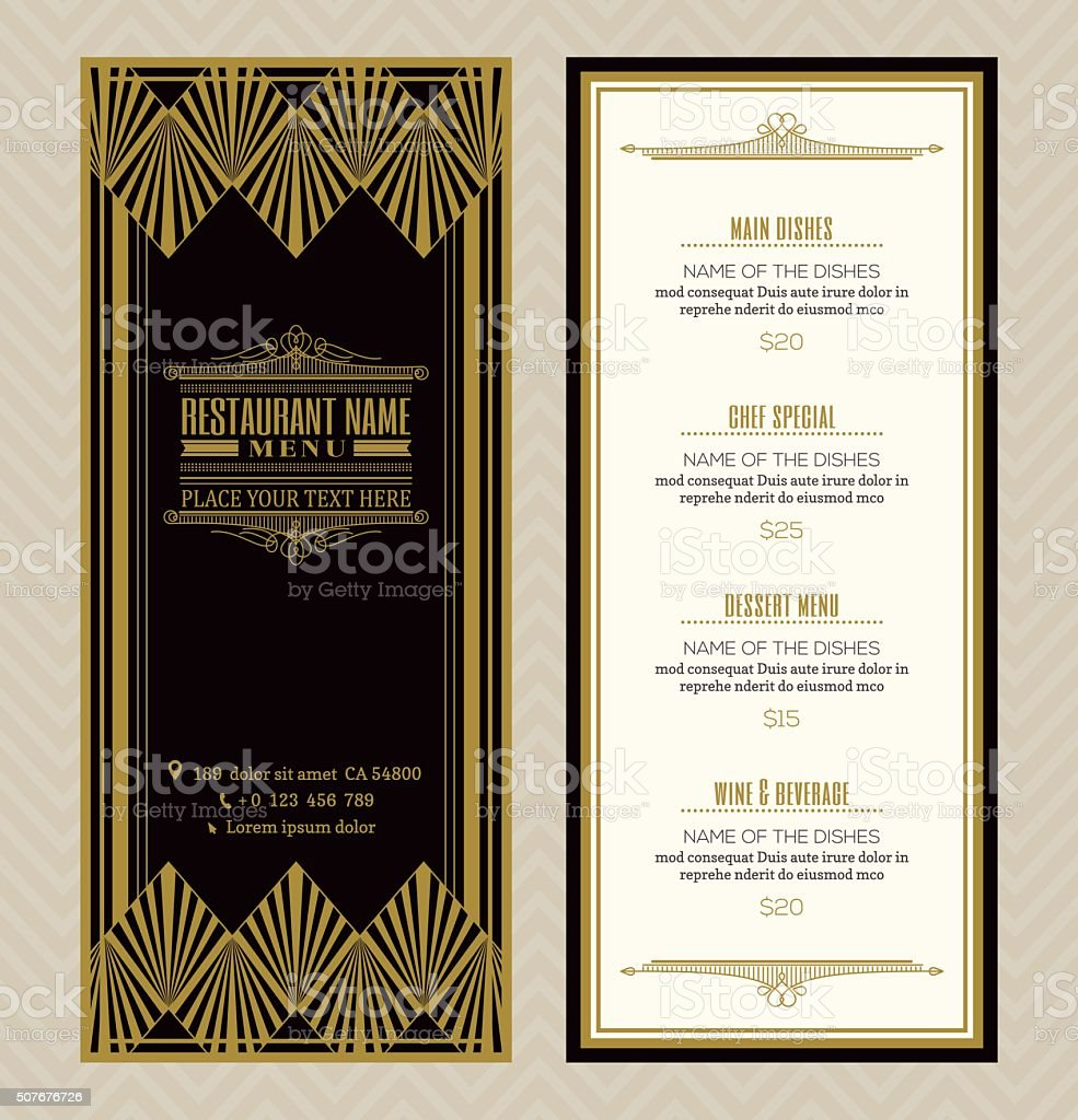 Restaurant or cafe menu design template with vintage frame style vector art illustration