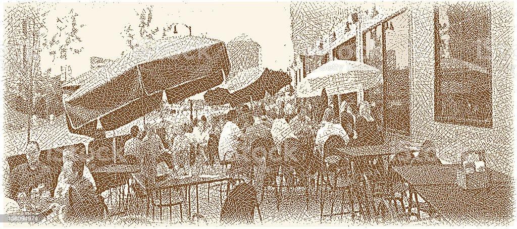 Restaurant Outdoor Patio vector art illustration