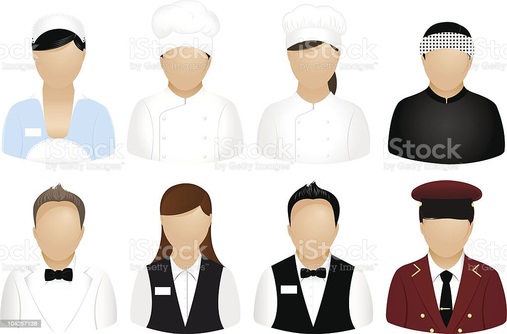 Restaurant People Icons royalty-free stock vector art