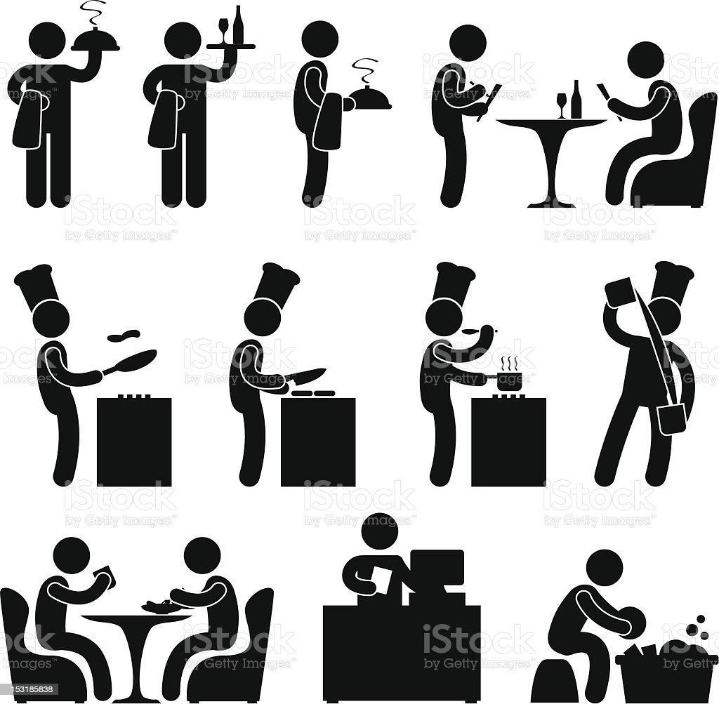 Restaurant People Waiter Chef Pictogram vector art illustration