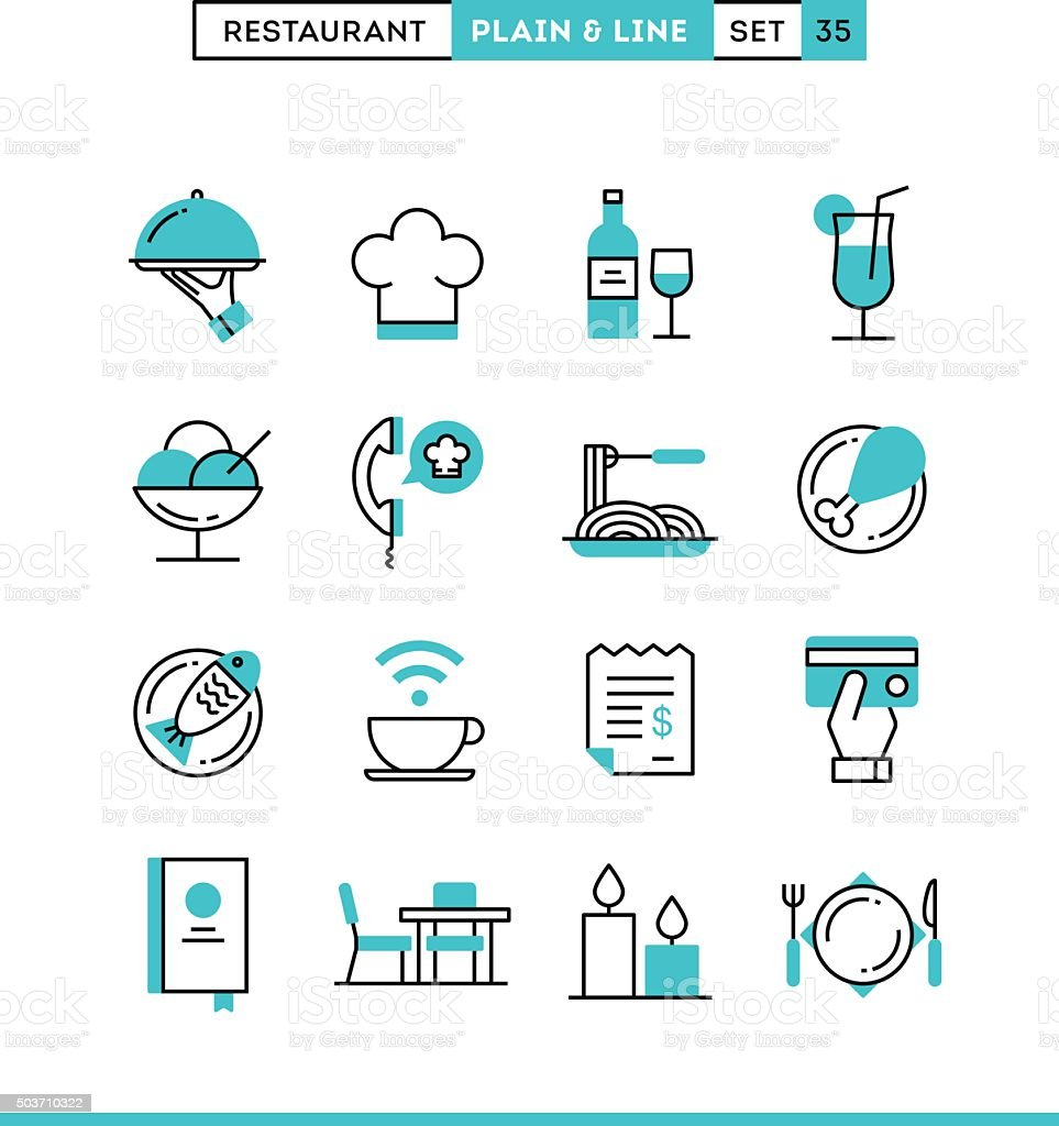 Restaurant, phone ordering, meal, receipt and more. vector art illustration