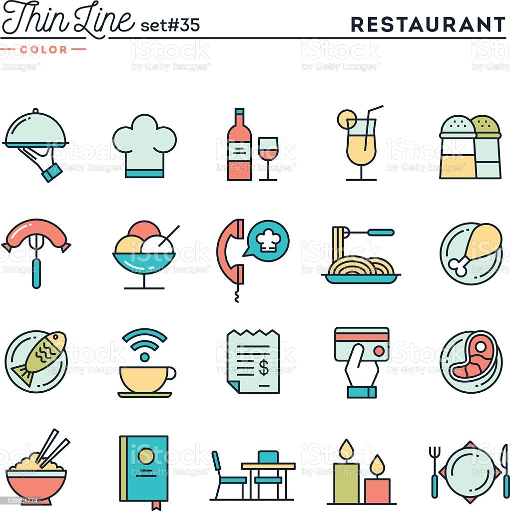 Restaurant, phone ordering, meal, receipt and more vector art illustration