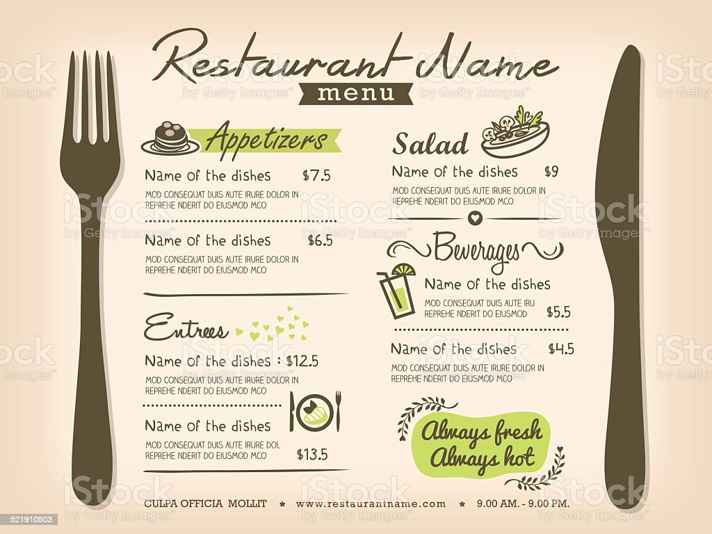 Restaurant Placemat Menu Design Template Layout vector art illustration